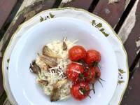 Oesterzwam risotto met truffelmosterd