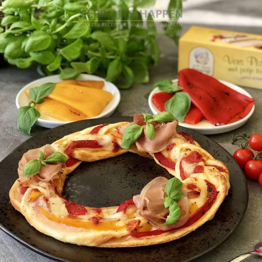 Pizzakrans met serrano rozen