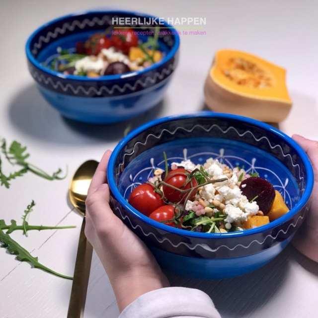 Geroosterde pompoen salade met parel couscous