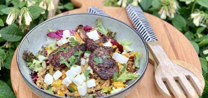 Bulgur salade met lamsrack