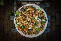 Lauw warme salade met krieltjes en gegrilde perzik