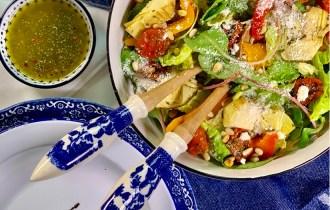 Paprika artisjok salade met Parmezaanse dressing