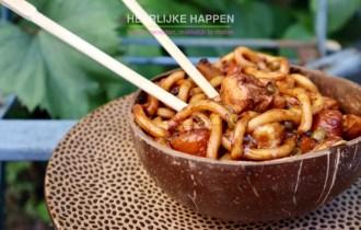 Teriyaki Udon noodles met pompoen