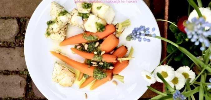 Kabeljauw met wortel en pesto