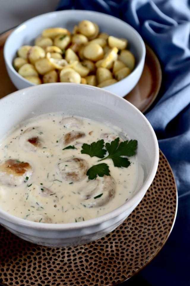 Citroen aardappeltjes en roomchampignons