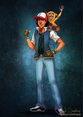 Aladdin and Abu as Ash Ketchum and Pikachu