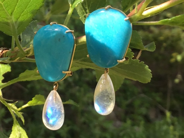 Moonstone and Turquoise Earrings