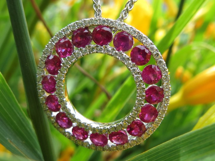 Ruby, Rubies, Diamond, Diamonds, Circle, Pendant, Pendants, Necklace, Necklaces, Gold, White Gold, 14Kt Gold, 14Kt White Gold, Providence, Jewelry Store, Jewelry, Jeweler, Fine Jewelry, Custom, Custom-Made, Handmade, Platinum, Engagement, Wedding, Hegeman & Co.