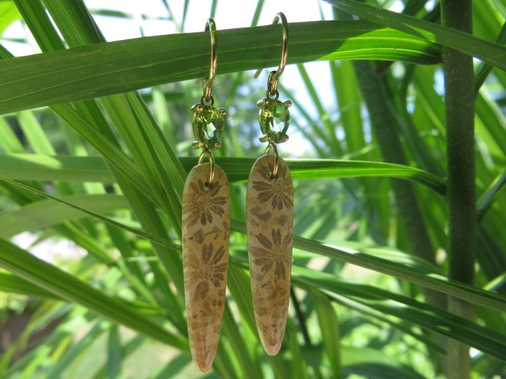 Fossilized Coral, Fossil, Fossils, Coral, Peridot, Peridots, Dangle, Dangles, Earring, Earrings, Gold, Yellow Gold, 14Kt Gold, 14Kt Yellow Gold, Gem, Gems, Gemstone, Gemstones, Providence, Jewelry Store, Jewelry, Jeweler, Fine Jewelry, Custom, Custom-Made, Handmade, Platinum, Engagement, Wedding, Hegeman & Co.