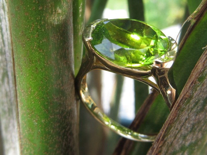 Oval Peridot 14Kt Gold Ring