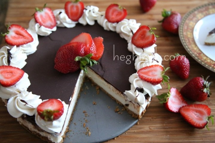 No Bake Chocolate Vanilla Cheesecake Recipe