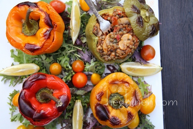 Lentil Stuffed Peppers Recipe by Heghineh