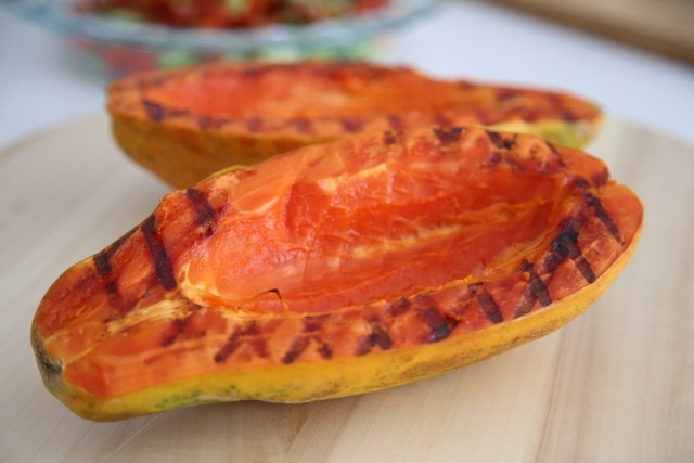 Chicken Veggies Stuffed Papaya Recipe