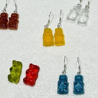 Ohrring Gummibär, Silber Bär Kunstharz
