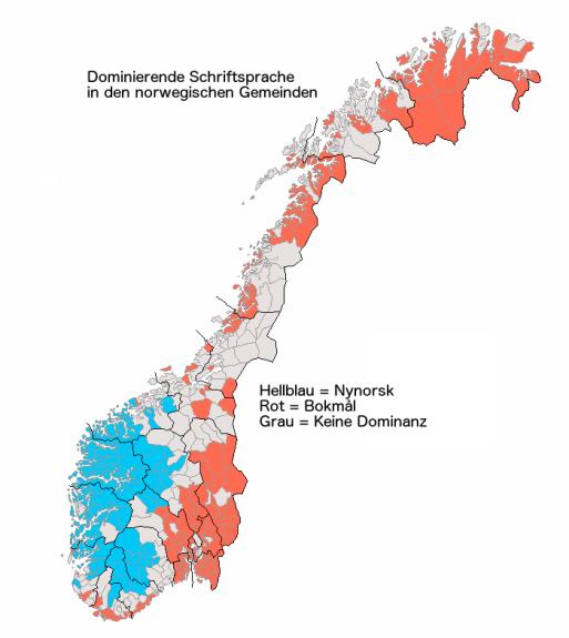 Schriftsprachen in den norwegischen Gemeinden