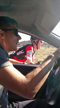 Stage 1: Back in the team car with BMC and Jason at the wheel. Some shuffling of tactics as we drop down to Bear Lake