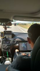 No down time for the director. On the way to the start of stage six of Tour of Utah.