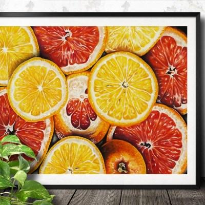 Originalt maleri af appelsiner - Heidi Berthelsen