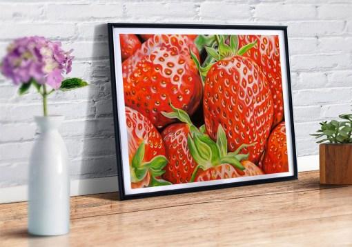 Smukt maleri af jordbær på en sommerdag - Heidi Berthelsen