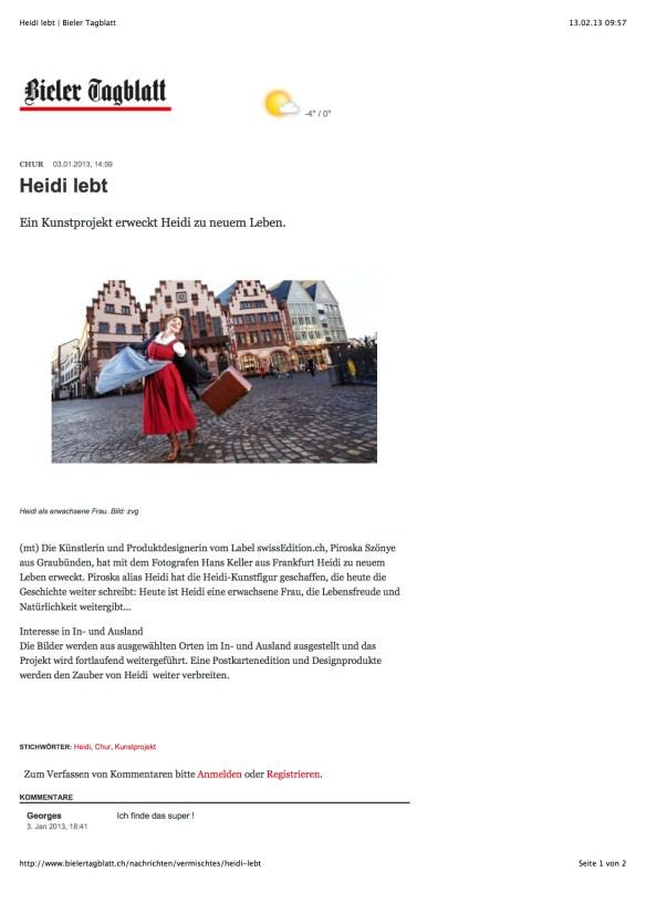 Heidi lebt | Bieler Tagblatt