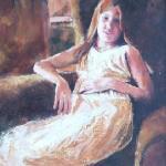 Girl in chair - an oil portrait by Heidi Beyers