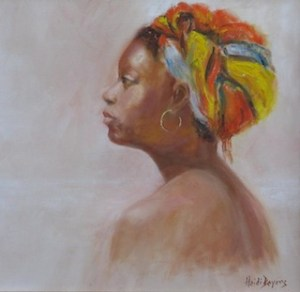 Lady with doek in Oil