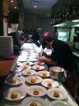 Chef Masone plates 120 portions of his Battle chicken dessert