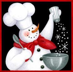 snow man as chef