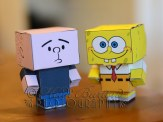 """1st October 2013 - the things you find when bored - I spotted these """"Cubee"""" patterns - printed on one sheet of A4 paper, cut out and built without using any glue or tape. I particularly liked these two - Karl Pilkington (An Idiot Abroad) and Spongebob - so cute!"""