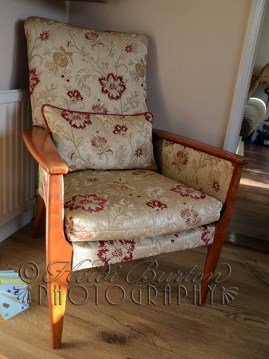 23rd December 2013 - remember the chair I pulled apart to reupholster and found 2 fivers down the back? Well this is it finished - it was a Christmas present for my in-laws - they were mega happy! Copyright Heidi Burton ABIPP. No use without the prior consent of the photographer.