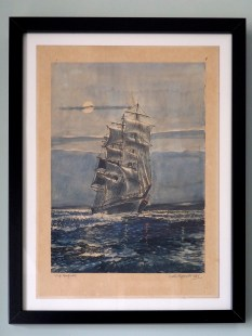 The ship Garfield, painted by my great uncle Victor Papworth in 1935, hangs in our dining room. I've always loved this, it used to hang in my nans house. #366for2016 #44 #watercolour #painting #art #sailing #ship