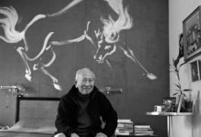 Tyrus Wong at his home in Sunland, CA 2004. Photo © Peter Brenner, Mural by Tyrus Wong © 1955