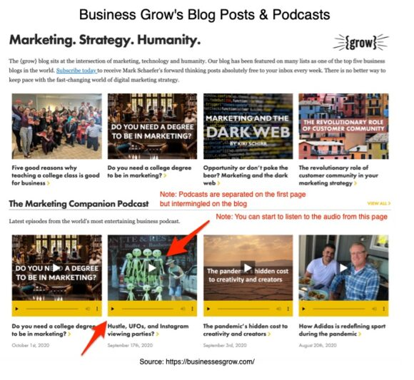 Business grow's blog posts and podcasts