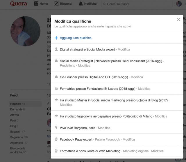 Seleziona le competenze su Quora