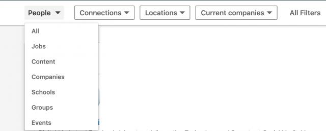 filtri per cercare persone su LinkedIn