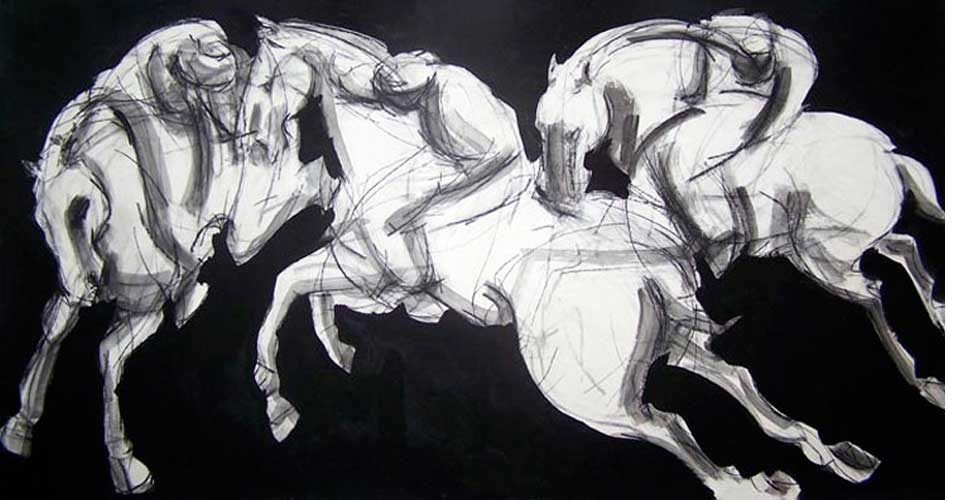 Polo-Players-IV-Ink-charcoal-horse-OPT
