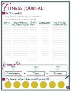 Printable fitness journal
