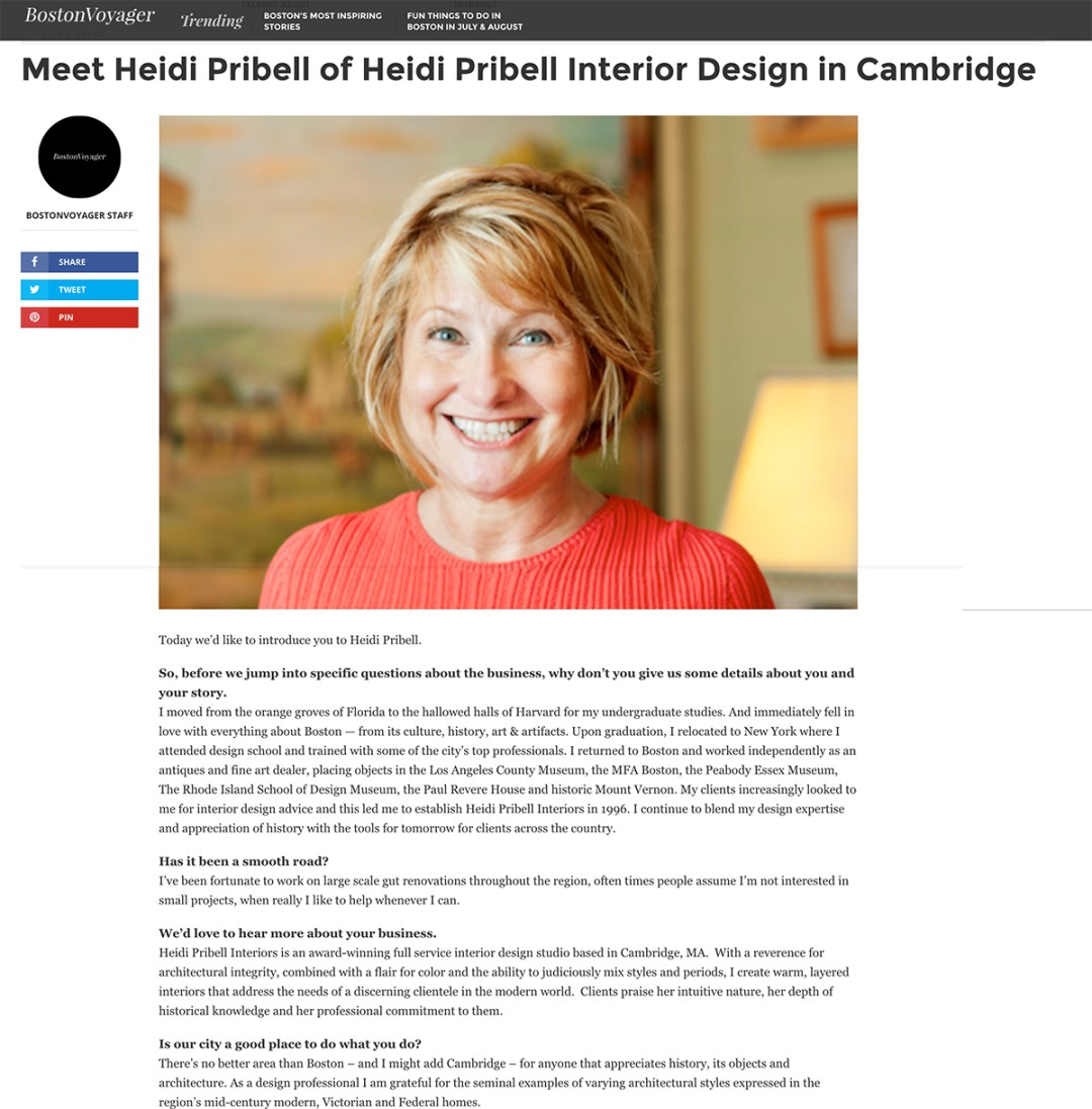 Boston Interior Designer Heidi Pribell Boston Voyager