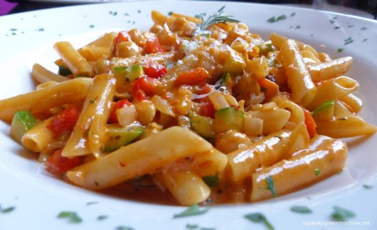 pasta with fresh rosemary, cream & tomato with vegetables (vegetarian)
