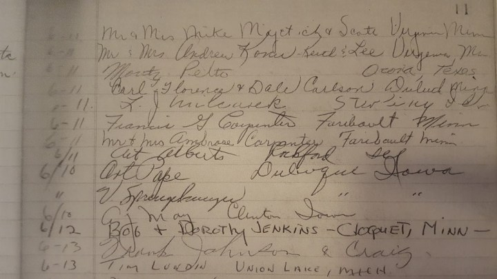 names in the kettle falls hotel guest registry, 1972