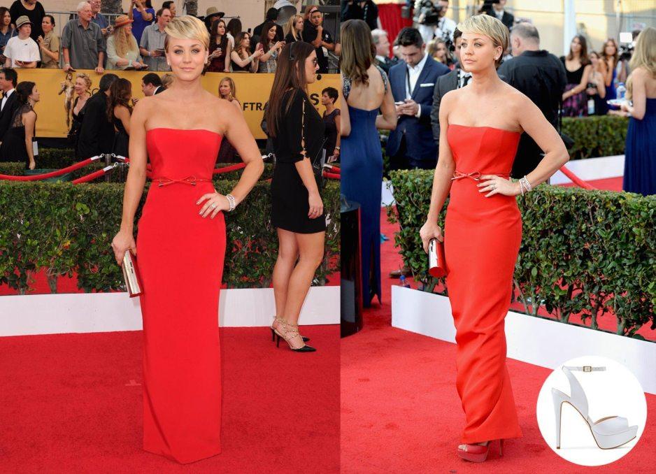 Kaley Cuoco Red Dress SAG Awards