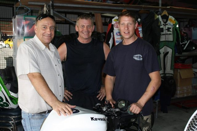 Gary Johnson and friends at a garage
