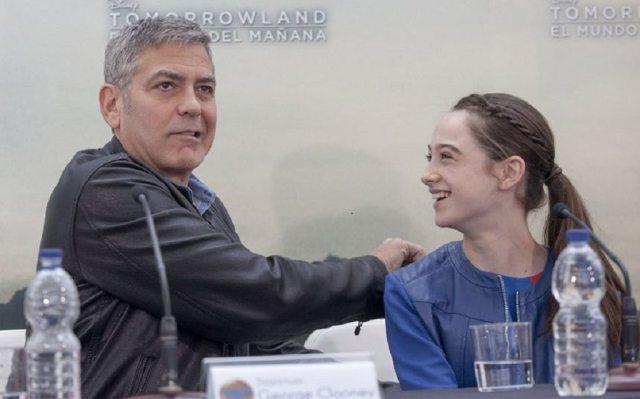 Raffey Cassidy and George Clooney