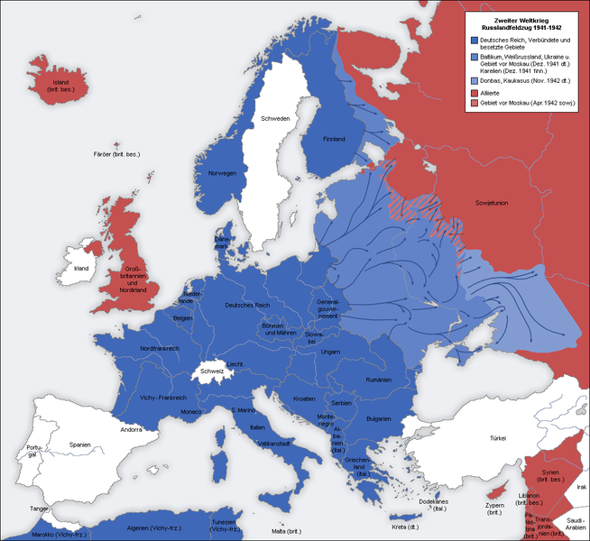 Axis Map - Zweter Weltrieg Geneoffensive (Counter Offensive) 1941-1942 (1/3)