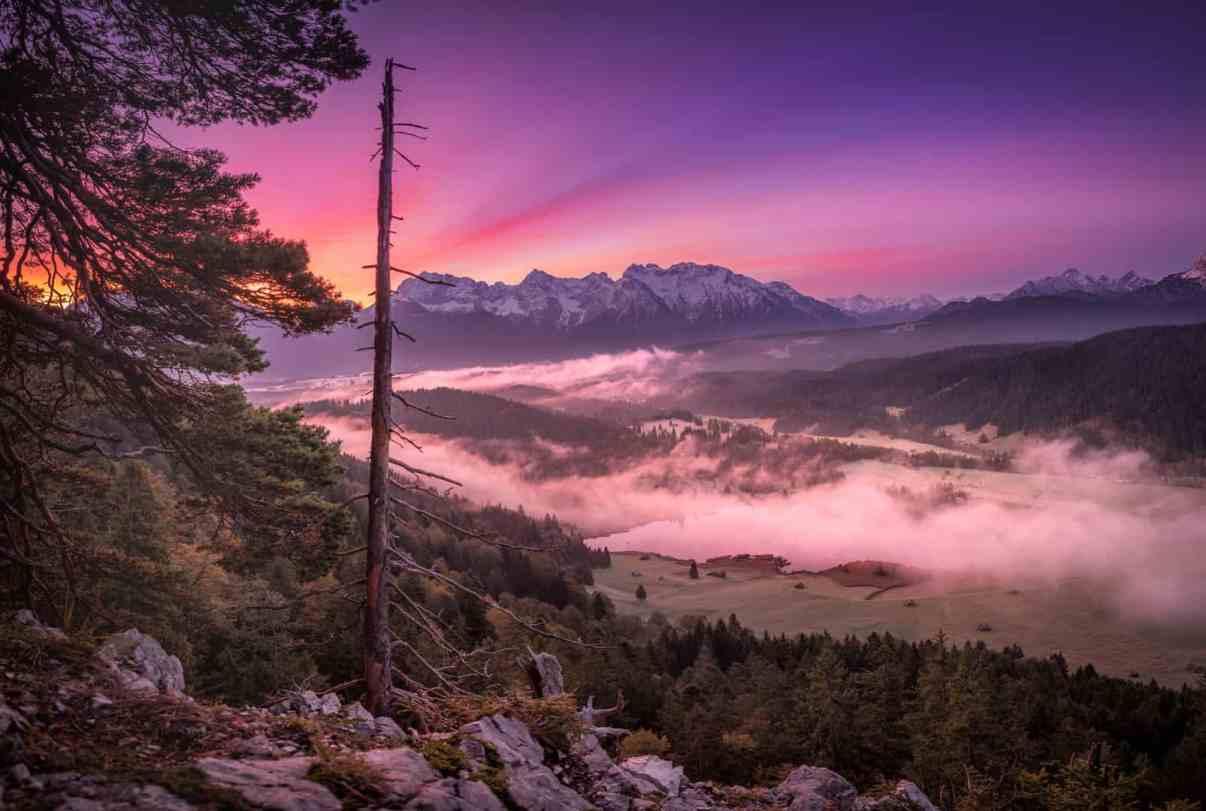 Sonnenaufgang über dem Gerolder See