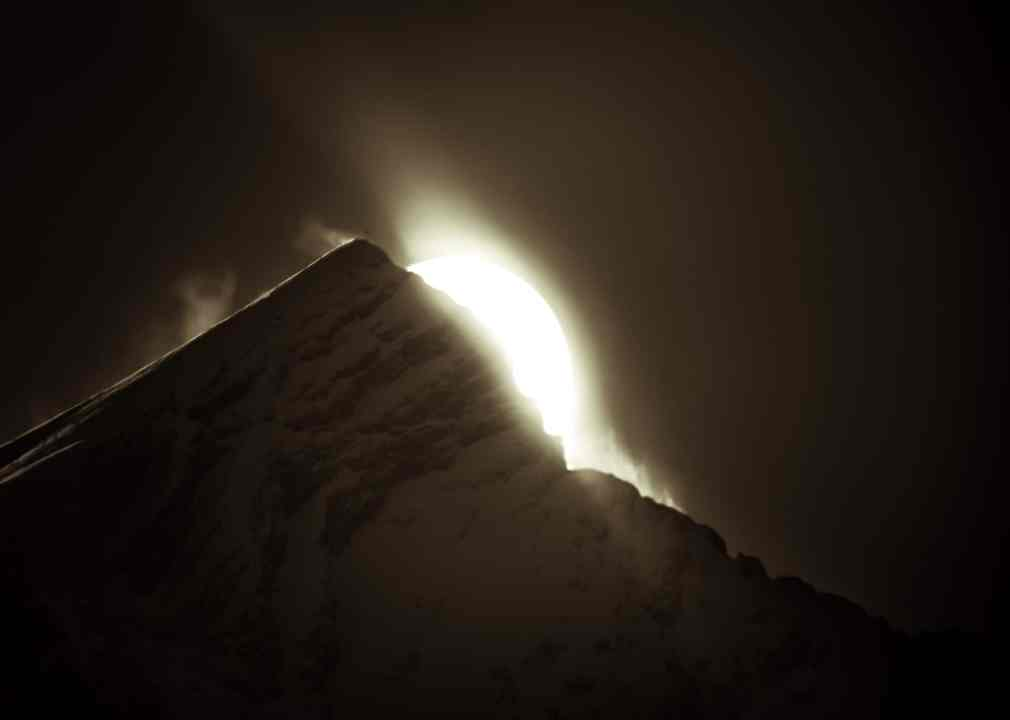 Light behind a Moutain