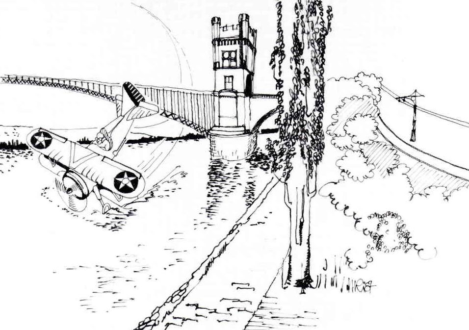 Erzählte Geschichre Amerkanisches Flugzeug stürzt in den Rhein- gemalt von Karl-Erich Richards, Koblenz