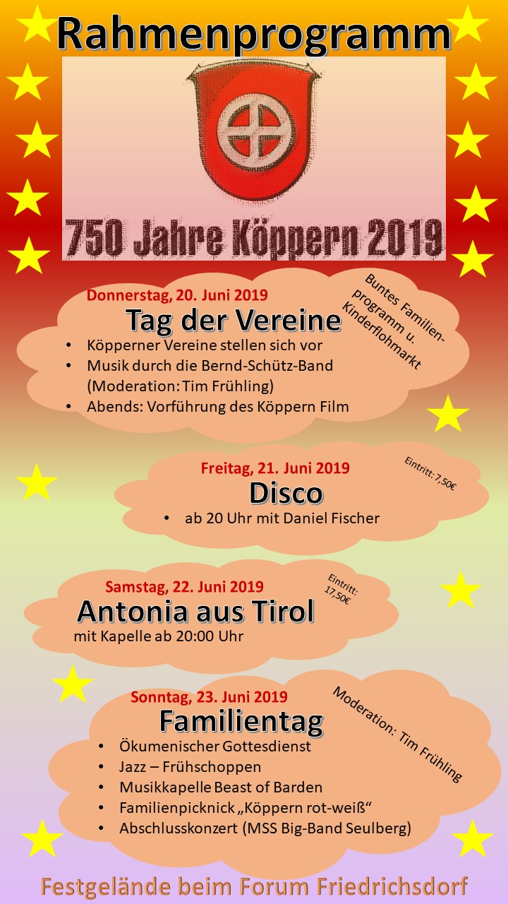 Rahmenprogramm 750 Jahr-Feier (Stand 01.02.2019)