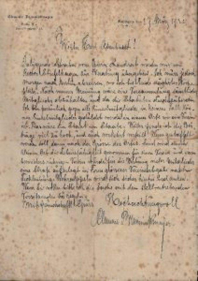 Brief von Clemens Brenningmeyer