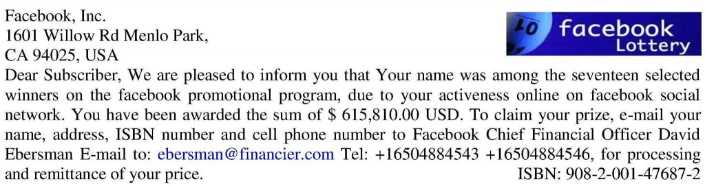 Facebook Real Or Lottery Scam